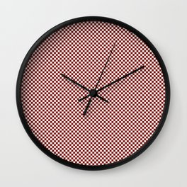 Vintage New England Shaker Barn Red and White Milk Paint Small Square Checker Pattern Wall Clock