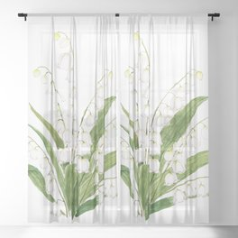 white lily of valley Sheer Curtain