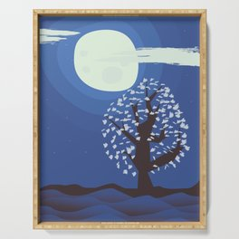 Tree in the moonlight Serving Tray