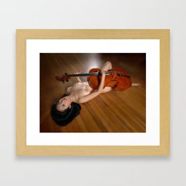 0149-JC Nude Cellist with Her Cello and Bow Naked Young Woman Musician Art Sexy Erotic Sweet Sensual Framed Art Print