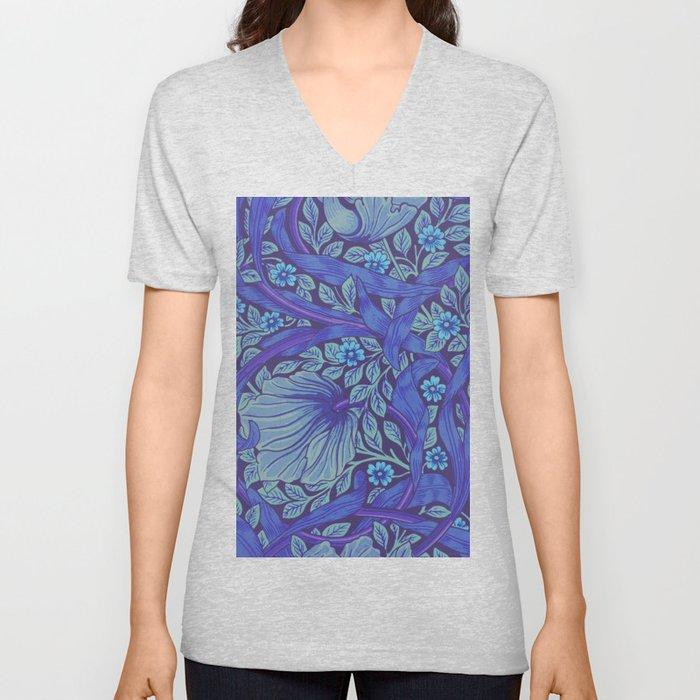 William Morris Indigo Forget Me Not Floral Art Nouveau Unisex V-Ausschnitt
