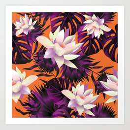 Botanic pattern orange Art Print