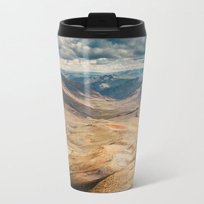 Man front of the mountain Metal Travel Mug