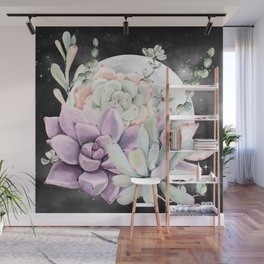 Succulents Full Moon Night Sky by Nature Magick Wall Mural