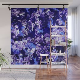 FLORAL FANTASY 2 Bold  Blue Lavender Purple Abstract Flowers Acrylic Textural Painting Garden Art Wall Mural