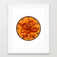 avatar the last airbender Framed Art Prints featuring Avatar The Last Airbender Fire Clock Face by Art of Sara