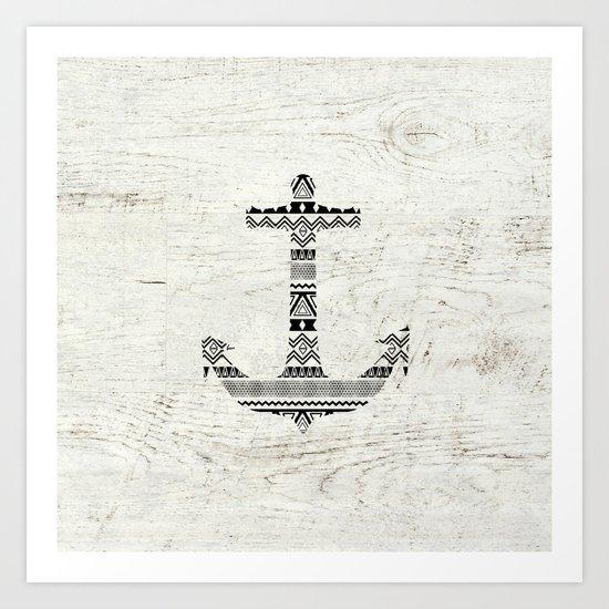Aztec Nautical Anchor Black White Vintage Wood Art Print