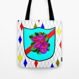 A Stained Glass Shield with Roses and Red Ribbon Tote Bag
