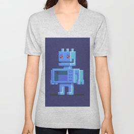 Magnetron pixel robot Unisex V-Neck
