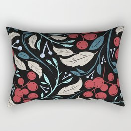 Holiday Holly and Mistletoe Pattern Rectangular Pillow