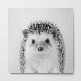 Hedgehog - Black & White Metal Print