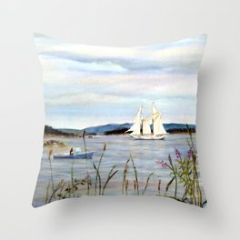 Sailing through Stonington Harbor, Maine. From watercolor painting by Pamela Parsons. Throw Pillow