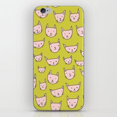 Pink Cats on Green iPhone & iPod Skin