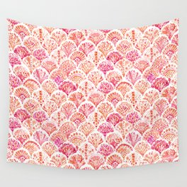 CORAL CAMO Mermaid Watercolor Fish Scales Wall Tapestry