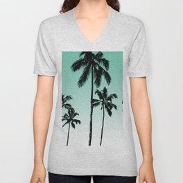 Teal tropical palms Unisex V-Neck