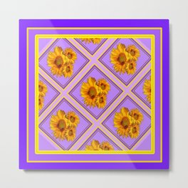 Purple-Lilac Diamond Pattern Floral Design Metal Print