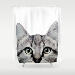 Cat, American Short hair, illustration original painting print Shower Curtain