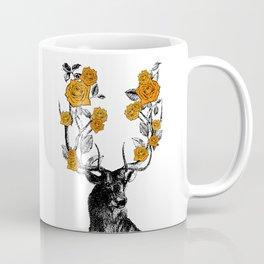 The Stag and Roses | Deer and Flowers | Orange | Vintage Stag | Vintage Deer | Antlers | Woodland | Coffee Mug
