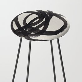 Mid Century Modern Minimalist Abstract Art Brush Strokes Black & White Ink Art Spiral Circles Counter Stool
