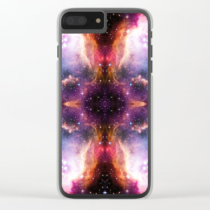 Purple Nebula Clouds Clear iPhone Case