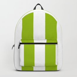 Bright Pistachio Nut Green and White Cabana Stripes Backpack