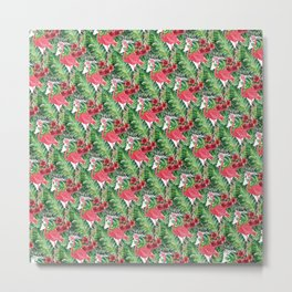 Flamingos Pattern I Metal Print