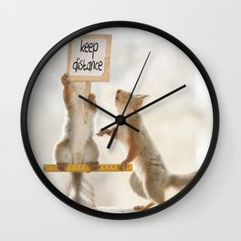 squirrels keeping distance Wall Clock