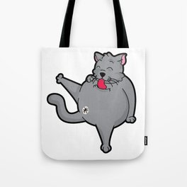 Happy grooming cat time Tote Bag