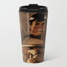 Original Leonard Nimoy (mr. Spock) on enterprise series of wood by Andulino Metal Travel Mug