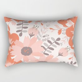 Big Flowers in Pink and Coral Red Rectangular Pillow