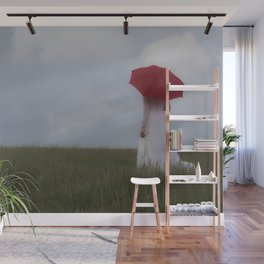 Red and White Wall Mural
