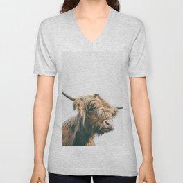 Majestic Highland cow portrait Unisex V-Neck