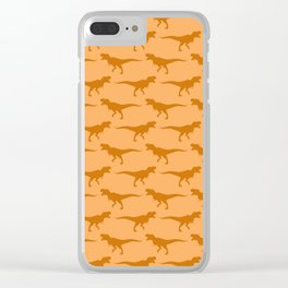 Tyrannosaurs Rex on Orange Clear iPhone Case