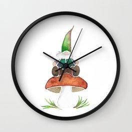 Gnome Sitting on a Mushroom Wall Clock