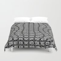 gray pattern Duvet Covers featuring Gray Pepples Pattern by Pia Schneider [atelier COLOUR-VISION]