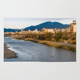 Panoramic view of Kamo River in Kyoto Rug