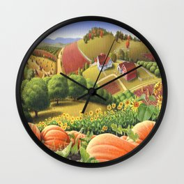 Appalachian Pumpkin Patch Rural Country Farm Life Landscape Wall Clock