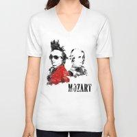 mozart V-neck T-shirts featuring Mozart Punk by viva la revolucion