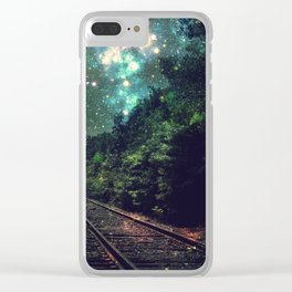 Train Tracks Next Stop Anywhere Teal Green Clear iPhone Case