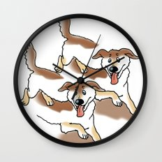 UNSTABLE HAPPY DOGS Wall Clock