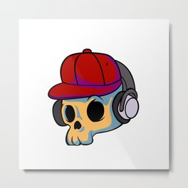 cartoon skull with Earphones and hat Metal Print