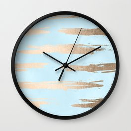 Abstract Paint Stripes Gold Tropical Ocean Sea Turquoise Wall Clock