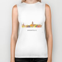 maryland Biker Tanks featuring Annapolis, Maryland Skyline BG by Marlene Watson
