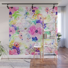 Pretty watercolor floral hand paint design Wall Mural