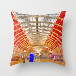 Paddington Railway Station Pop Art Throw Pillow