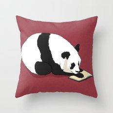 Reading Panda Throw Pillow