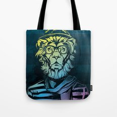 Hipster Lion Black and White Tote Bag