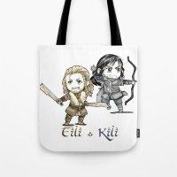 fili Tote Bags featuring Fili and Kili Chibi by KuroCyou