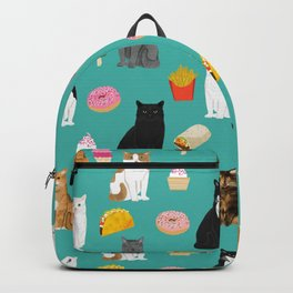 Cat breeds junk foods ice cream pizza tacos donuts purritos feline fans gifts Backpack