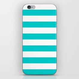 Horizontal Stripes - White and Cyan iPhone Skin